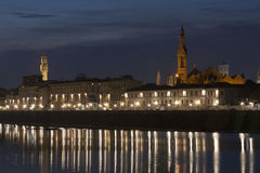 Night Florence cityscape and Arno river Stock Image