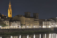 Night Florence cityscape and Arno river Royalty Free Stock Photos