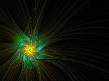 Night Flower. Abstract fractal on a black background. It reminds of some flower or feather Royalty Free Stock Images
