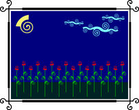 Night_flowers. Abstract drawing of a night garden. Clouds slowly float on the night sky Stock Photo