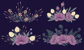 Night flowers bouquet set. Poppy, fenn and clower. Vintage picture for invitation, greeting card, print on clothes or t-shirt, sticker. Hand drawn Greenery art Royalty Free Stock Images