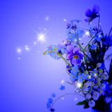 Night Flowers with glitter Royalty Free Stock Images
