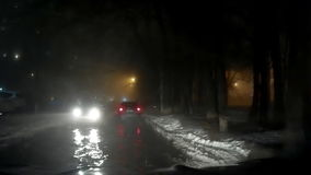 Night Foggy Mist Car Road 2 Hd. This is mysterious strange  bad weather driving video of a Night Foggy Car Road. Lights, rain and fog. Really nice colours and stock footage