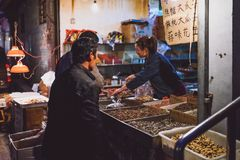 Night food market in Beijing, China Royalty Free Stock Photo