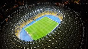 Night football game at large stadium, aerial view, sport event, championship. Stock photo royalty free stock image
