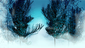 Night forest. Abstract 3d trees in the myst Royalty Free Stock Image