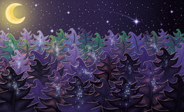 Night forest background Royalty Free Stock Photography