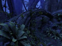Night forest. 3D rendered illustration of night deep forest Stock Photography