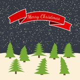 Night forest with falling snow and a red ribbon with the inscription Happy Christmas. Vector illustration Royalty Free Stock Photography