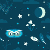 Night Forest Owl Seamless Royalty Free Stock Images