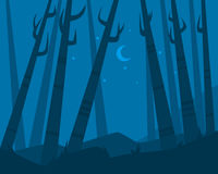 Night in forest. Trees on sky background with the moon and stars. Flat design. Vector illustration Royalty Free Stock Photos