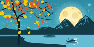 Night landscape with autumn tree, falling leaves, mountains, lake, moon, stars, cartoon style, vector, illustration. Night in the forest vector illustration with Vector Illustration