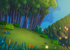 Night Forest. Video Game`s Digital CG Artwork, Concept Illustration, Realistic Cartoon Style Background Stock Photo