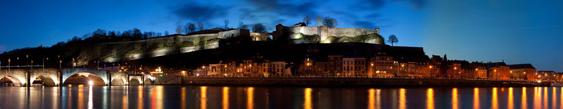Night fort panorama. Night panorama of a river, city, mountain and fort stock photo