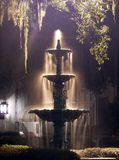 Night Fountain. Fountain at night in LaFayette Square Savannah, GA stock photo