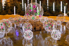 Night fountain d�cor Royalty Free Stock Images