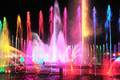 Night fountain lights show Stock Photography
