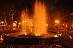 Night Fountain in Odessa, Ukraine. Photo of a one of the fountains in Odessa where there is also an active nightlife royalty free stock photography