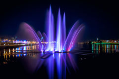 Night fountain. A quiet summer night in the city Stock Photo