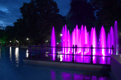 Night fountains amusement Stock Images