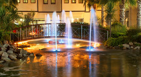 Night fountains in luxury five stars hotel Stock Photos