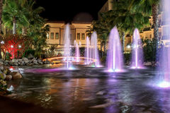 Night fountains in luxury resort Royalty Free Stock Images