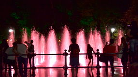 Night fountains people Royalty Free Stock Photo