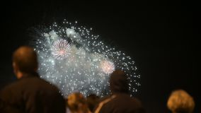 Night frame behind the crowd of people watching the fireworks. People at a holiday watching a pyrotechnic performance stock footage