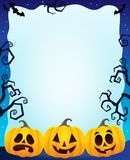 Night frame with Halloween pumpkins Royalty Free Stock Images