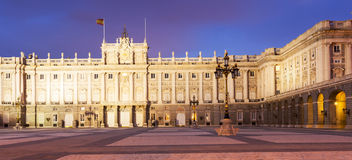 Night front view of facade of Royal Palace Stock Photo