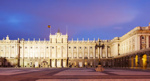 Night front view of Royal Palace in Madrid Stock Images