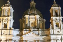 Night frontal view of Saint Agnese church in Piazza Navona, Rome. Italy Royalty Free Stock Images