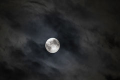 Night with full moon in clouds Royalty Free Stock Photo