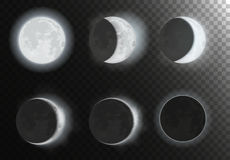 Night full new moon planet phases on the night galaxy sky. Night space astronomy. Royalty Free Stock Images
