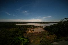 A night full of stars in the Brazilian Amazon royalty free stock photography