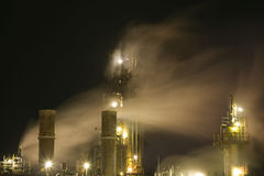 Night Fumes. Fumes from an old oil plant on the Dartmouth side of Halifax Harbor, Nova Scotia royalty free stock images