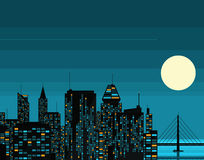 Night futuristic city with big moon Royalty Free Stock Photo