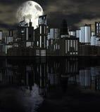 Night Futuristic City with Big Moon Royalty Free Stock Photos