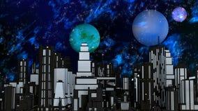 Night Futuristic City with three Planets and Stars Stock Photos
