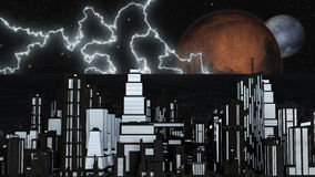 Night Futuristic City with two Planets and Stars Royalty Free Stock Image