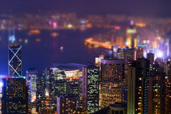 Night futuristic Hong Kong panorama. Tilt shift Stock Images