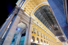 Night of Galleria Vittorio Emanuele II in Milan wide angle Royalty Free Stock Images