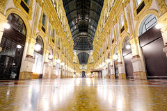Night of Galleria Vittorio Emanuele II in Milan wide angle Stock Photography