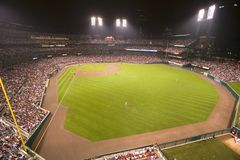 In a night game and a light rain mist, the Florida Marlins beat the 2006 World Series Champion baseball team, the St. Louis Cardin Royalty Free Stock Photo