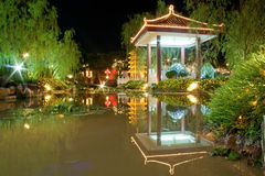 Night Garden Lake Stock Image