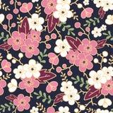 Night garden sakura blossoms seamless pattern Royalty Free Stock Photography