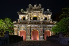 Night gate to the Imperial City, Hue stock images