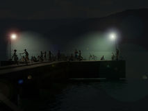 Night gathering at pier stock images
