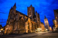 Night in Ghent. Night in city center of Ghent, Belgium Stock Image