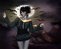 Night girl and bats. The girl loves to watch the bats at night Royalty Free Stock Photos